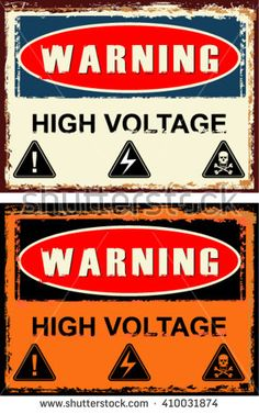 warning, high voltage, sign