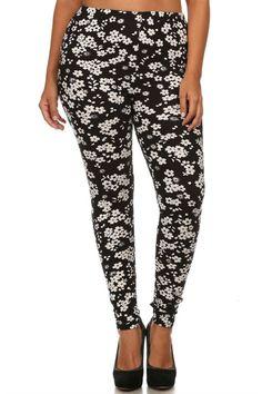 Black White Flowers Design Plus Size Leggings