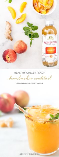 A refreshing and healthy ginger peach kombucha mocktail & cocktail recipe that's equal parts sweet and spicy, low in sugar, and full of good-for-your-gut fermented bacteria! Delicious with or without alcohol, it's the perfect drink for all your warm weather weekend AND weeknight festivities.
