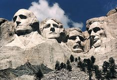 The images of presidents George Washington, Thomas Jefferson, Theodore Roosevelt and Abrah...