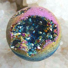 Rainbow aura quartz geode
