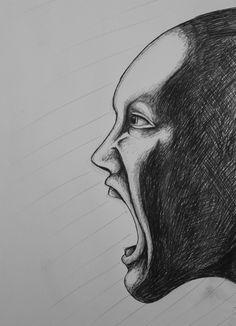 Scream / black and white / art / graphite / sketch / drawing
