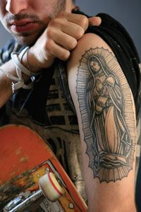 In Danny Morice's tattoo the virgin Mary holds a skateboard