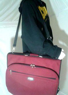 Delsey Burgundy Garment Bag Weekender Carry On Lightweight Travel Bag #LandsEnd