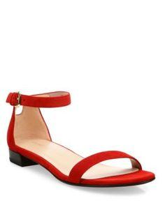 STUART WEITZMAN Nudisflat Suede Ankle-Strap Sandals. #stuartweitzman #shoes  #flats