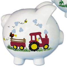 Personalized Tractor Piggy Bank for children Hand Painted