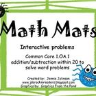 We did this today and the kids loved it!  Math Mats.  Adding and subtracting up to 20 with word problems.  Common Core 1.OA.1.  On sale through October!!  $
