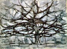 Grey tree painting by Mondrian