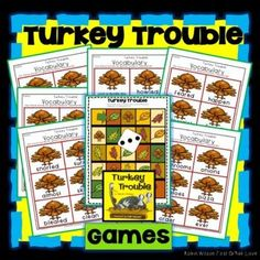 Turkey Trouble Activities will help students understand plot with comprehension questions, games, vocabulary, grammar, fluency, phonics, comprehension strategies, sequencing, writing, and a comprehension test with answer key! Turkey Trouble, Robin Wilson, Comprehension Strategies, Guided Reading, First Grade, Phonics, Vocabulary, Activities, This Or That Questions