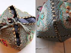Could make a great crochet project. Fabric Boxes, Fabric Basket, Fabric Storage, Sewing Crafts, Sewing Projects, Sewing Box, Textile Artists, Embroidery Art, Needle And Thread