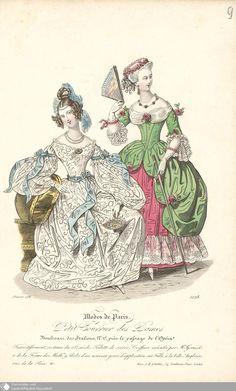 """1836, zwei Abendkleider, rechts im Stile des 18. Jahrhunderts, aus dem """"Petit courrier des dames"""""""