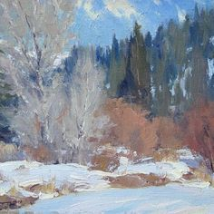 """""""March Snow"""" (oil, 8x10) by Ron Rencher. Posted on Facebook, Plein-Air Painters of America, on Jan 16, 2013."""