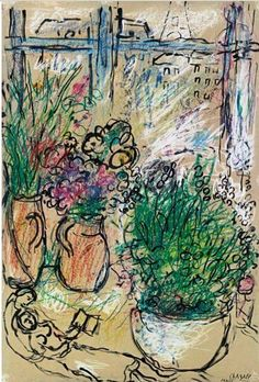 Marc Chagall - Amoureux au fleurs, 1965. Brush and ink, pen and ink, pastel and gouache on board, 20 7/8 x 14 ¼ in. (53 x 36.2 cm).