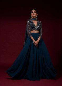 WhatsApp: Bringing luxury Indian fashion at your fingertips Specia. - Fashion Show - WhatsApp: Bringing luxury Indian fashion at your fingertips Specia… - Indian Gowns Dresses, Indian Fashion Dresses, Dress Indian Style, Indian Designer Outfits, Indian Designers, Designer Bridal Lehenga, Indian Lehenga, Blue Lehenga, Lehnga Dress