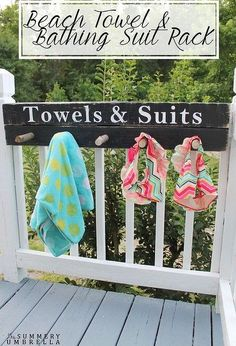Towel and Bathing Suit Rack Beach towel and bathing suit rack ~ keep your pool area organized with this cute sign and hanging rack.Beach towel and bathing suit rack ~ keep your pool area organized with this cute sign and hanging rack. Living Pool, Outdoor Living, Haus Am See, Outdoor Pool, Outdoor Decor, Outdoor Deck Decorating, Outdoor Gardens, Lake Decor, Festival Camping