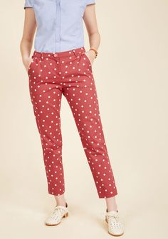 Fly by the Chic of Your Pants in Red Dots in XL, #ModCloth