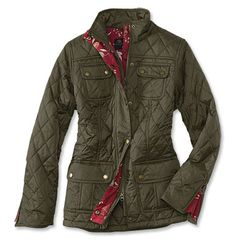 Barbour's versatile, slightly fitted, multi-pocketed quilt jacket for women is updated with a lovely Orvis-exclusive Wedgwood-patterned lining. Quilted midweight 6-oz. Barbour Sylkoil waxed cotton with plush moleskin-lined convertible stand collar. Rugged antiqued-bronze front zip with snap storm flap. Roomy flap-top patch pockets. Finished with moleskin-binding trim.