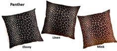 Panther Decorative Pillows by Creative Home Furnishings/Dakotah are available in Ebony, Linen, or Mink in sizes of 17 x 17, 12.5 x 26, or 26 x 26.