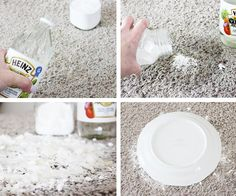 How to clean pet stains from carpet: pour enough vinegar to soak, then enough baking soda to cover the spot. Cover with a bowl or plate and let it soak in. After a few days, vacuum & clean rug regularly. Just in case. Deep Cleaning, Spring Cleaning, Cleaning Hacks, Cleaning Supplies, Cleaners Homemade, Diy Cleaners, Steam Cleaners, Carpet Cleaners, Diy Cleaning Products