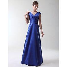 Floor-length Stretch Satin Bridesmaid Dress - Royal Blue Plus Sizes / Petite A-line / Princess V-neck - USD $ 74.99