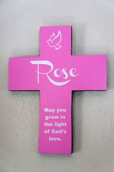 Cross Personalized Pink  Pine Wood Cross w/ Dove by Frameyourstory, $39.95
