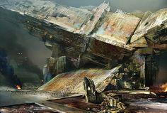 Concept Art by Daniel Dociu | #SciFi #Spaceship