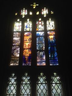 Part of the new Ivor Gurney stained glass window in Gloucester Cathedral. Works beautifully.