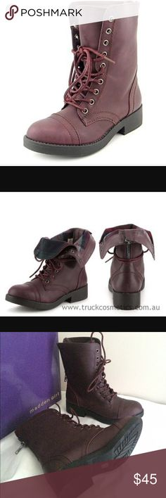 New Madden Girl Maavin Women Burgundy Boot Sz 6 Brand new with box Women size 6 Fast shipping Madden Girl Shoes Combat & Moto Boots