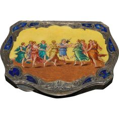 Vintage Italian 800 Silver Enamel Compact Dance of Apollo and the Muses