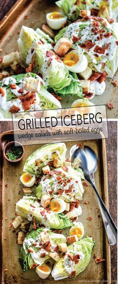 Iceberg Wedge Salads with Grilled Bacon is a recipe to feed a hungry crowd! It packs a lot of flavor and a crisp freshness! | http://www.cookingandbeer.com