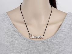 "Amazon.com: OKAJEWELRY Rhinestone Letter Queen Pendant Necklace, 11"": Clothing"
