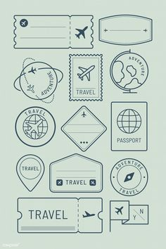 Download premium vector of Travel stickers and badge set vector 1229269