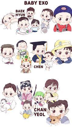 Baby EXO <credits to owner> Kpop Exo, Park Chanyeol Exo, Exo Chen, Sehun, Chibi, Exo Cartoon, Exo Stickers, Exo Red Velvet, Exo Anime