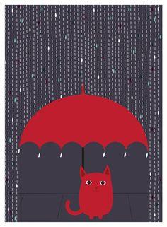Cat Art Print Giclee Rain Kitty Cat Lover Art Rainy Day Cat and Umbrella Illustration Art Print - katzen - Art And Illustration, I Love Cats, Crazy Cats, Lovers Art, Cat Lovers, Cat Umbrella, Cat Art Print, Paintings, Art Prints