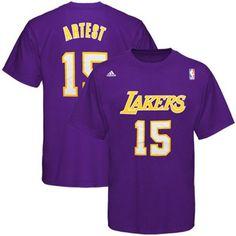 adidas Los Angeles Lakers  15 Ron Artest Purple Net Player T-shirt  Fanatics e83629751