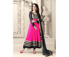 Neon pink colored salwar kameez with embroidery work