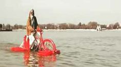 This bicycle can be ridden on both land and water #bicycle #invention #video