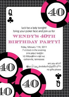 birthday invitations fresh greygrey designs my parties hot pink glamorous casino party invitations casino Vegas Party, Casino Night Party, Casino Theme Parties, Vegas Theme, 40th Birthday Invitations, 40th Birthday Parties, Birthday Ideas, Reception Invitations, Invitations Online