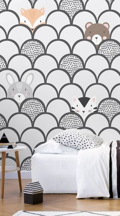 Kids Ultimate Pop Up Wallpaper Mural Invite the animals of the forest into your little one's bedroom Gray Bedroom, Bedroom Colors, Kids Bedroom, Bedroom Murals, Wall Murals, Kids Room Wallpaper, Childrens Bedroom Wallpaper Uk, Nature Wallpaper, Wallpaper Desktop