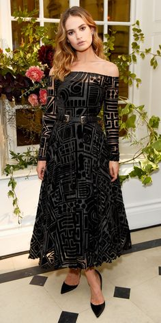 Look of the Day - Lily James from InStyle.com at the My Burberry Black launch in a velvet geometric off-shoulder Burberry design