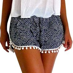 Dasongff Damen Polka Dot Hot Pants High Waist Quaste Shorts Sommer Casual Kurze Hosen Strand Shorts Marine, S Mini Shorts, Loose Shorts, Boho Shorts, Casual Shorts, Women's Shorts, Short Shorts, Summer Shorts, Casual Wear, High Waisted Bikini Bottoms