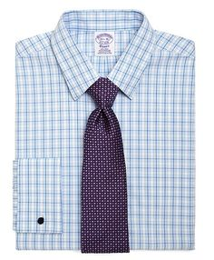 2b1925c4e5110 Supima® Cotton Non-Iron Regular Fit Fun Check French Cuff Pinpoint Dress  Shirt - Brooks Brothers