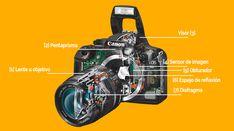 Estas son las partes internas que componen a una cámara fotográfica réflex digital Eos, Darth Vader, Security Systems, Learn Photography, Parts Of The Mass, Fotografia