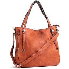WISHESGEM Women Handbags PU Leather Tote Shoulder Bags Satchel Zipper Cross Body Bags Brown #tote #shoulderbag
