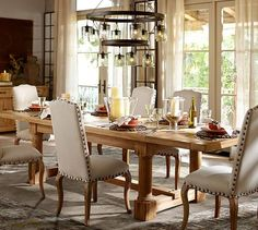 Charles Reclaimed Wood Extending Dining Table - Smoked Pine finish | Pottery Barn