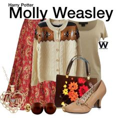 Inspired by Julie Walters as Molly Weasley  in the Harry Potter film franchise.