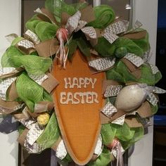 Easter carrot deco mesh wreath