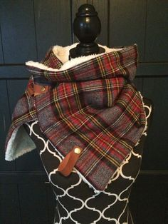 Red, Grey and Yellow Plaid with Leather Snap Cowl