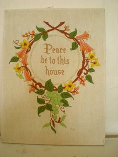 Vintage Crewel Embroidery Peace Be to this by BambieJonesHome, $35.00