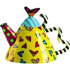 Romero Britto Triangular Teapot main body in Yellow w/Multicolor Hearts, Heart on lid, B&W striped wavy Handle♥•♥•♥